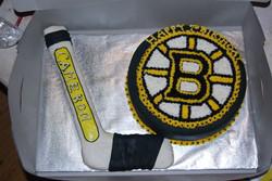 Facebook - Boston Bruins Birthday Cake: Vanilla layer cake with almond buttercre