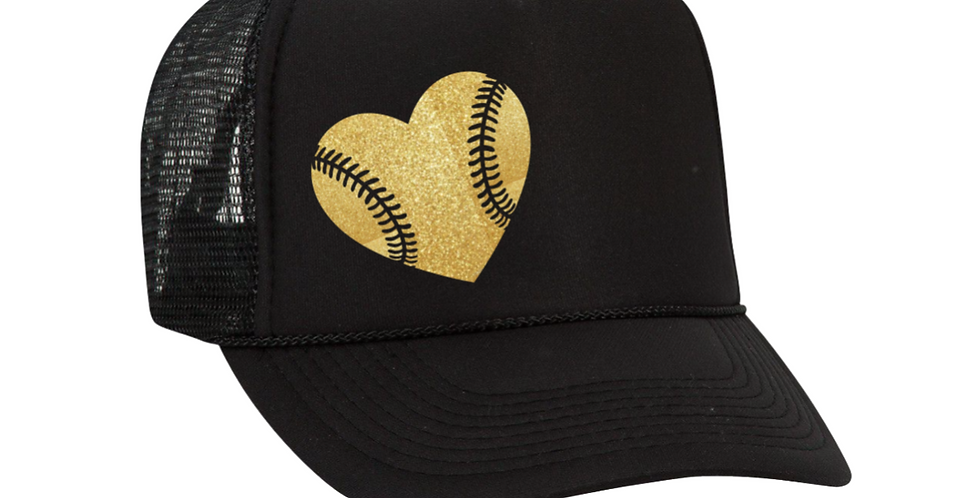 Softball Heart Hat