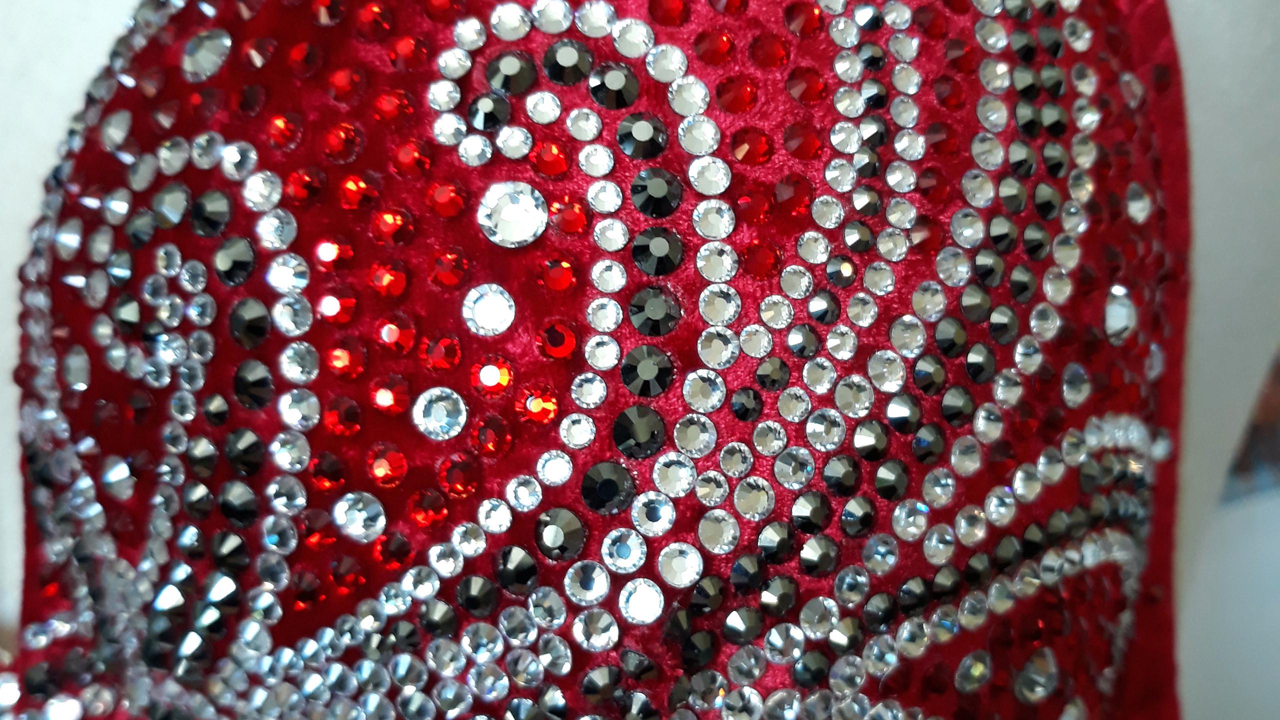 Red swirl crystal bikini