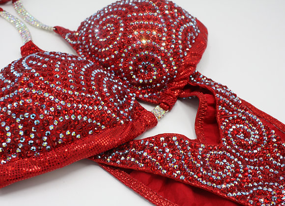 Red Swirl Competition Bikini