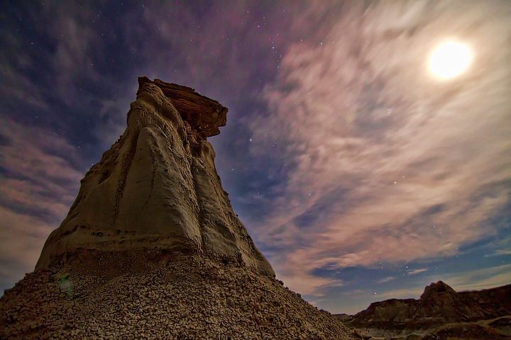 Dinosaur Provincial Park at night. Photography by John Novotny