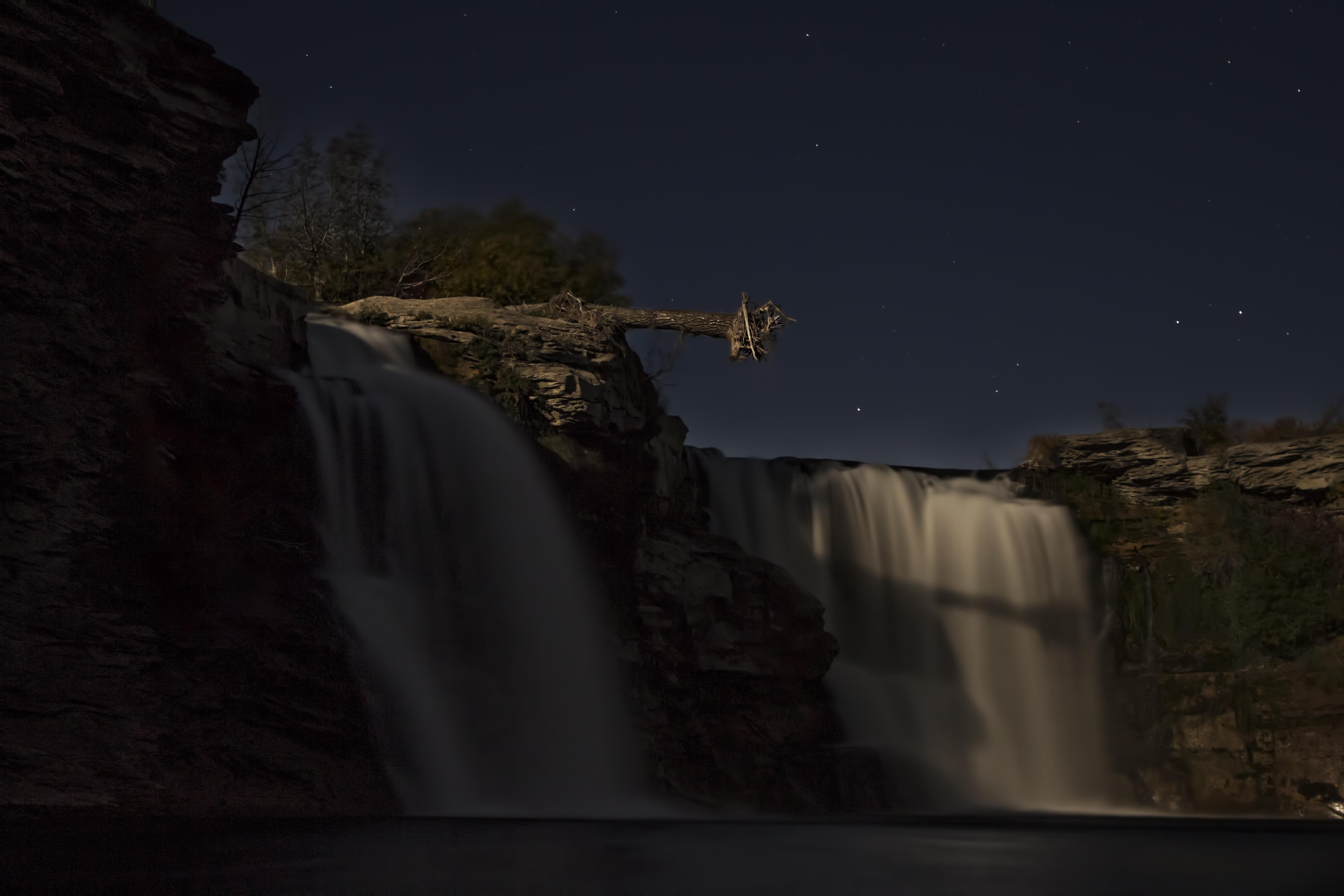 Lundbreck Falls at Night
