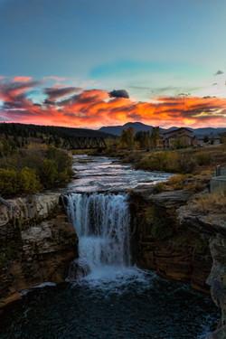 Lundbreck Falls at Sunset