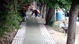 En diciembre estará finalizada la construcción de veredas en ruta 57 Calle Larga