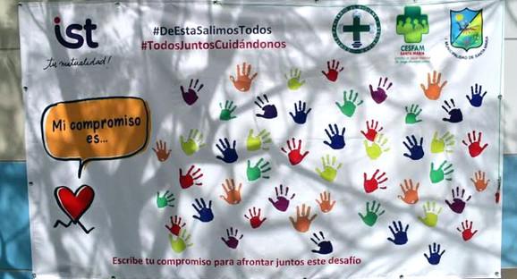 #DeEstaSalimosJuntos se denomina la campaña que realiza el IST con funcionarios del Cesfam