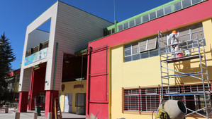 Obras de conservación de la escuela La Pampilla presentan más de un ochenta por ciento de avance