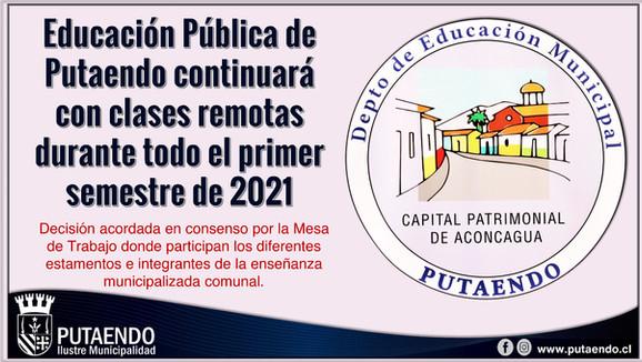 Municipio de Putaendo determinó continuar clases en modalidad remota durante todo el 1er semestre