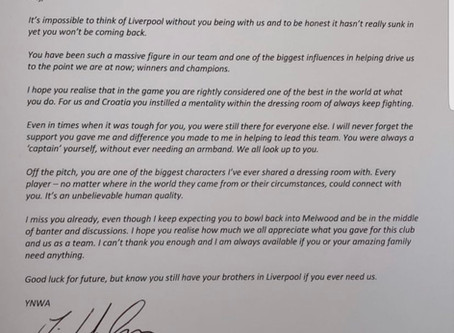 Lovren posts picture of farewell letter & gift from the Liverpool captain