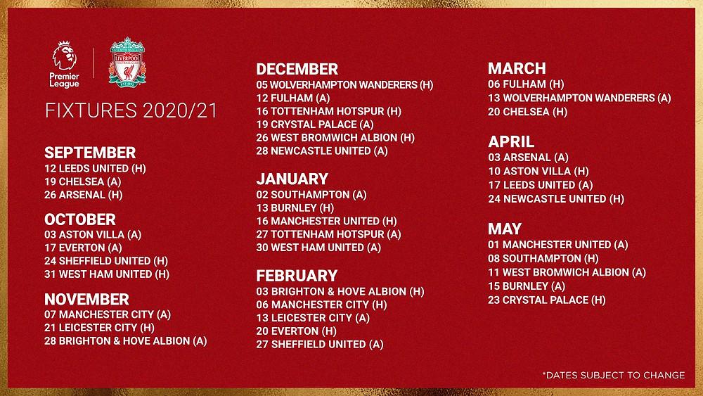 check it out liverpool s full premier league fixture list for 2020 21 season full premier league fixture list