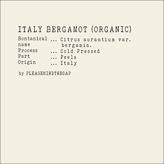 Organic Italy Bergamot essential oil 10ML |有機意大利佛手柑精油 10ML