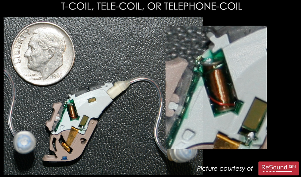 Picture of a t-coil, tele-coil, or telephone-coil inside of a hearing aid