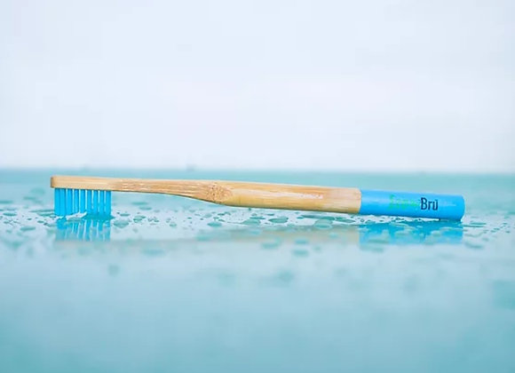 Blue handled bamboo toothbrush by eco brush