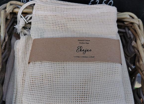 3 x cotton produce bags