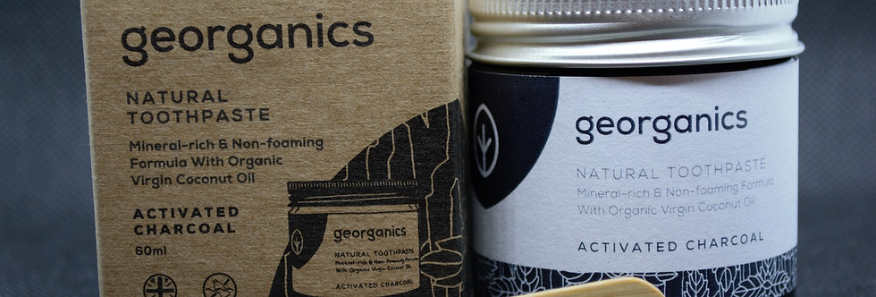 Natural activated charcoal toothpaste made by georganics