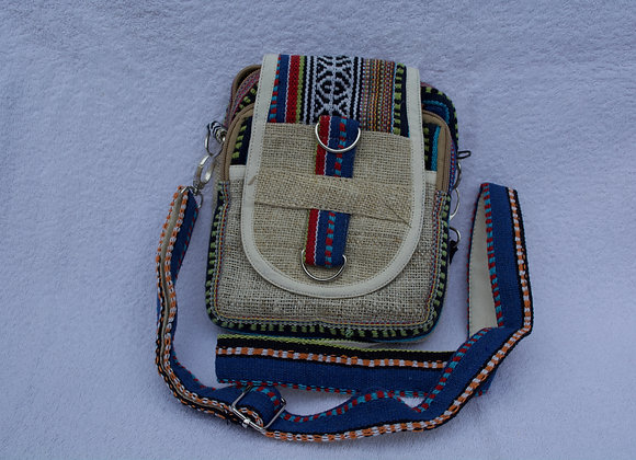 Hemp and cotton sling travel bag