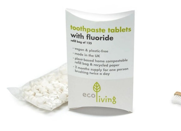 Ecoliving fluoride toothpaste tablets contains 125