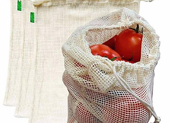3 - piece reusable cotton mesh produce bags.