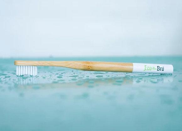 White bamboo handled tooth brush made by eco brush