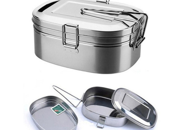 stainless steel coated  two tier lunch box