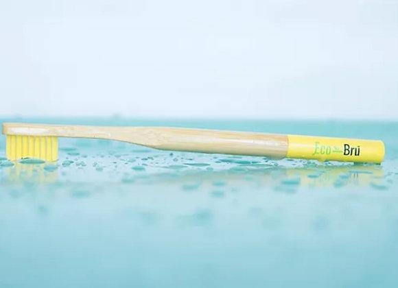 Yellow handled bamboo toothbrush