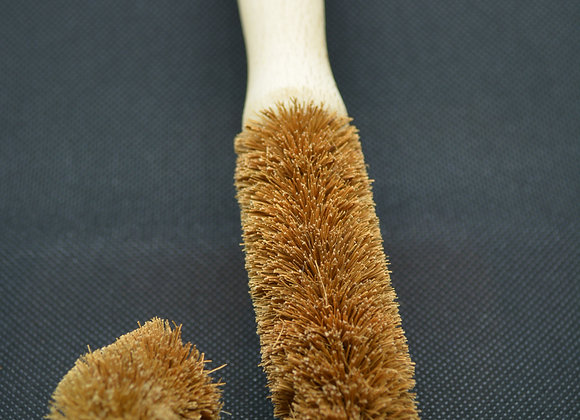 Curved bottle brush with coconut fibre bristles