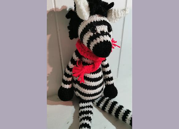 Handmade knitted Zebra