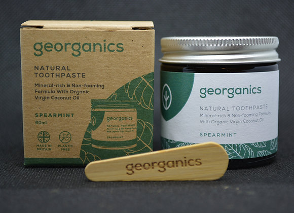 Natural peppermint toothpaste made by georganics
