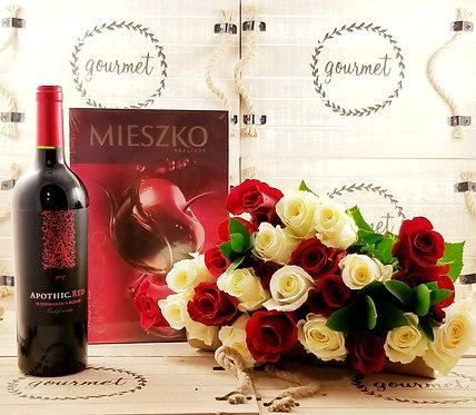 Roses+RED Wine & Chocolates