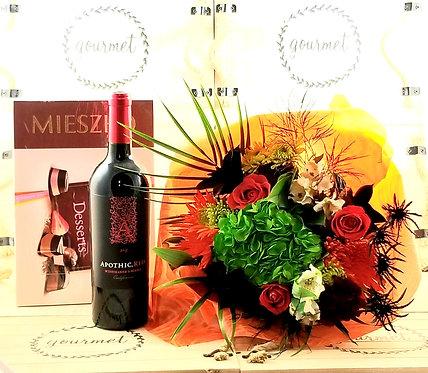Flowers,RED Wine & Chocolates