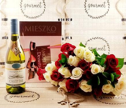 Roses+WHITE Wine & Chocolates
