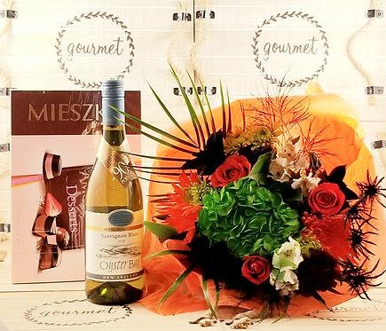 Flowers+WHITE Wine & Chocolates