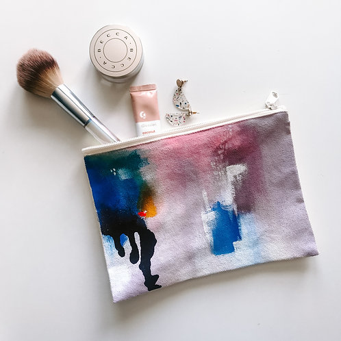 Lilac Canvas Zipper Bag