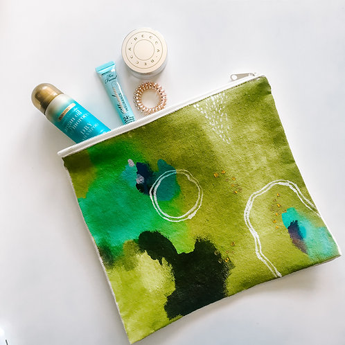 Green Canvas Zipper Bag