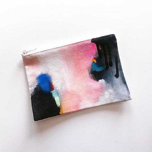 Petal and Black Canvas Zipper Bag