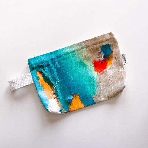 Aqua Canvas Zipper Bag with Handle