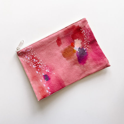 Magenta Canvas Zipper Bag