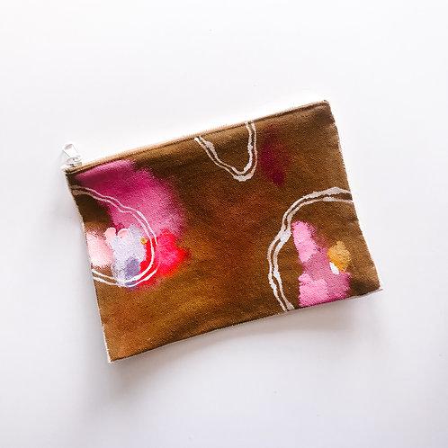 Cognac Canvas Zipper Bag
