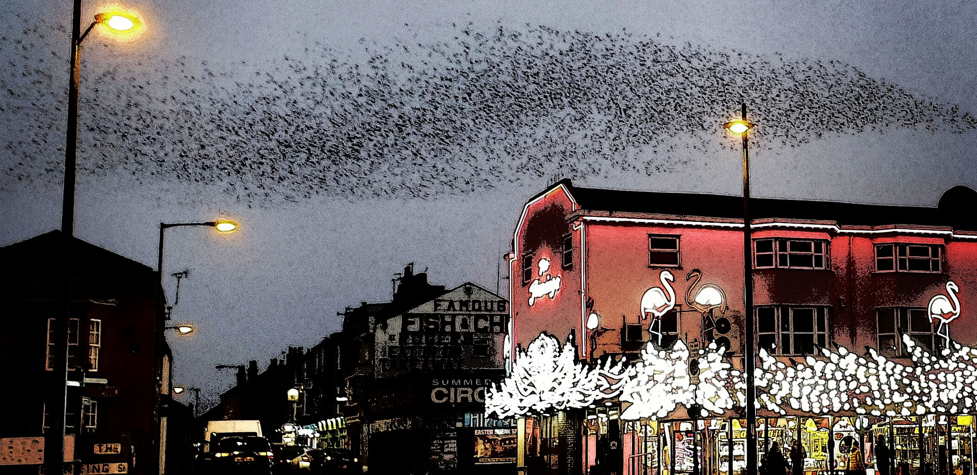 Great Yarmouth seafront: a shoal of birds, a murmuration of fish