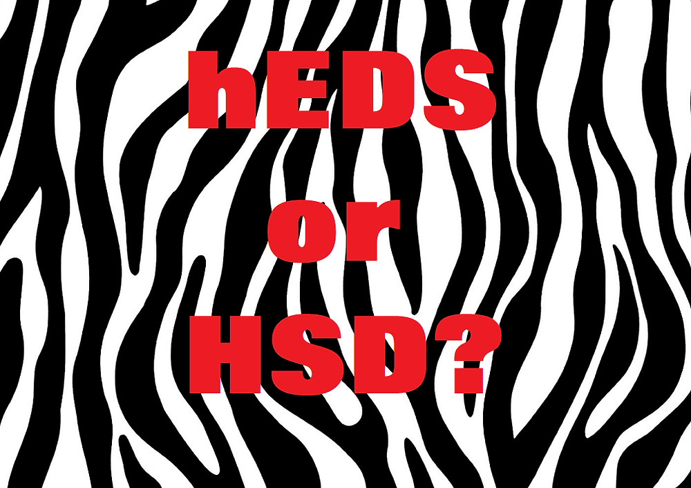 hEDS or HSD on zebra stripe background
