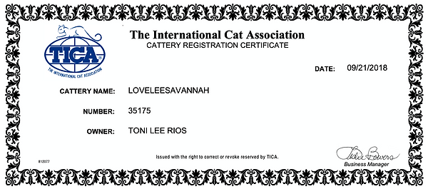 Lovelee Savannah TICA Cattery Registration #35175