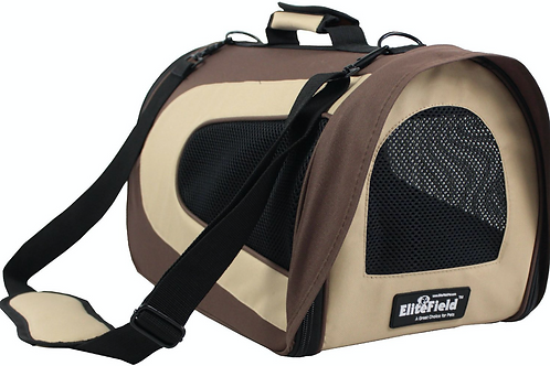 Deluxe Airline-Approved Pet Carrier, 20in, Brown/Beige