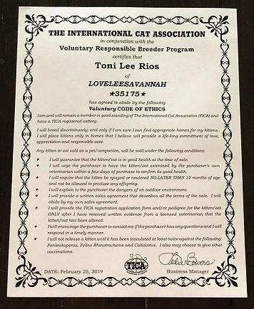 Lovelee Savannah TICA Responsible Breeder Code of Ethics #35175