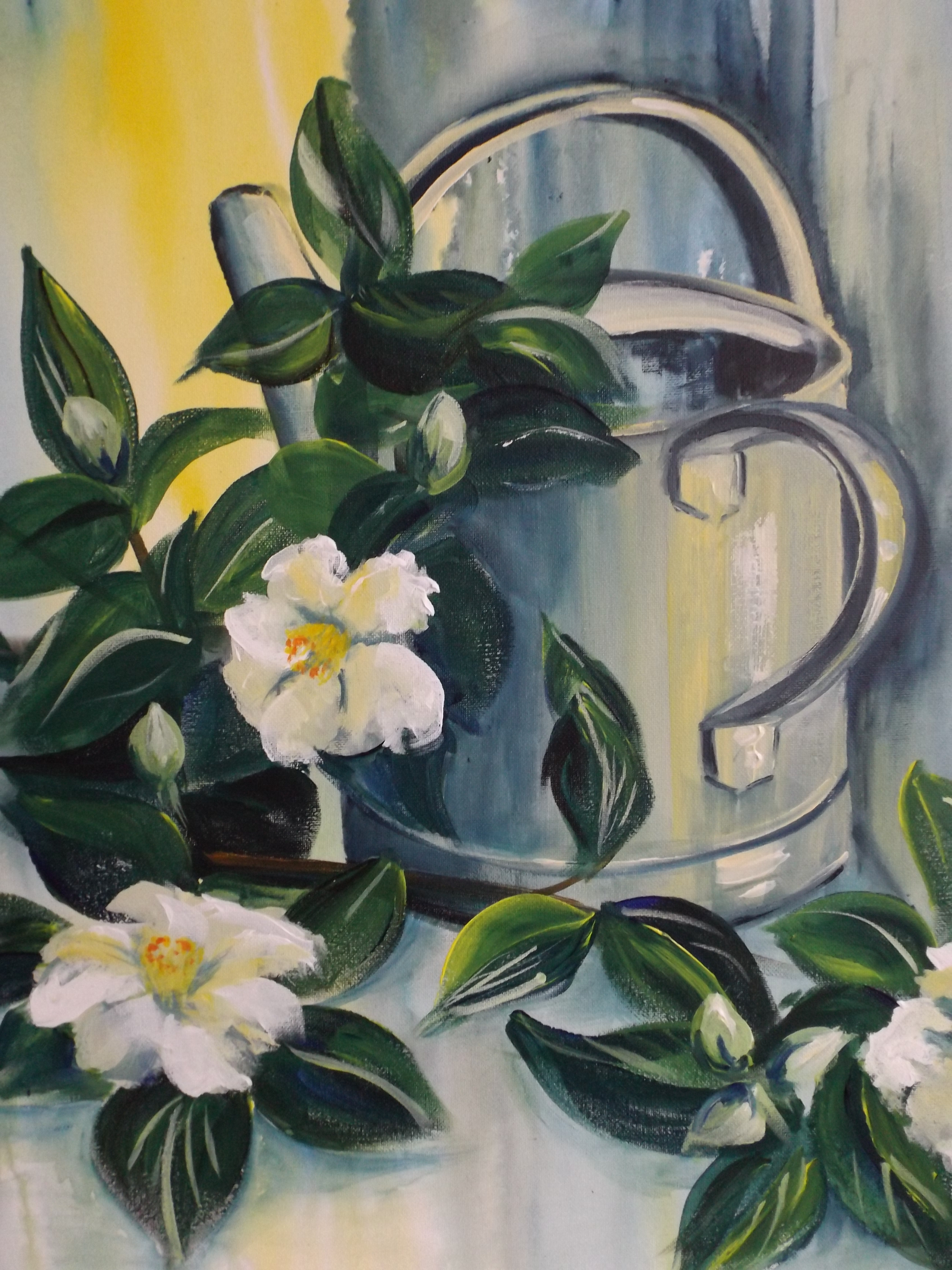 White Camellias with Watering Can