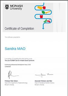 certificat méthode Fodmap Université Monash