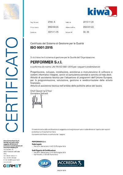 PC 2766 certificato ISO 9001 del 23-01-2