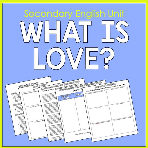 Secondary English Unit on Defining and Exploring Love