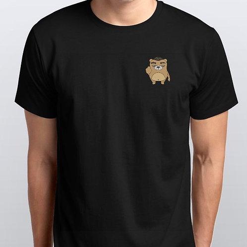 麻甩熊左胸中指 純棉T恤