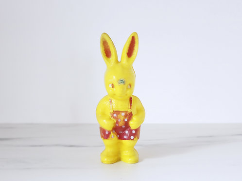 Vintage Kitsch Yellow Polka Dot Plastic Bunny Rabbit Figurine