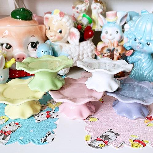 Mini Ceramic Pastel Wavy Cupcake Stands