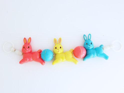 Vintage Kitsch Plastic Bunny Rabbit Pram Rattle